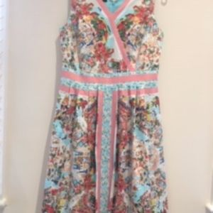 Talbots Size 8 Fit-and-Flare Sun Dress, Red/Blue
